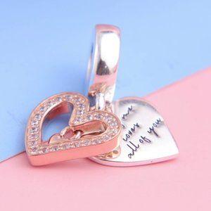 📿Pandora  Sparkling Freehand Heart Dangle Charm